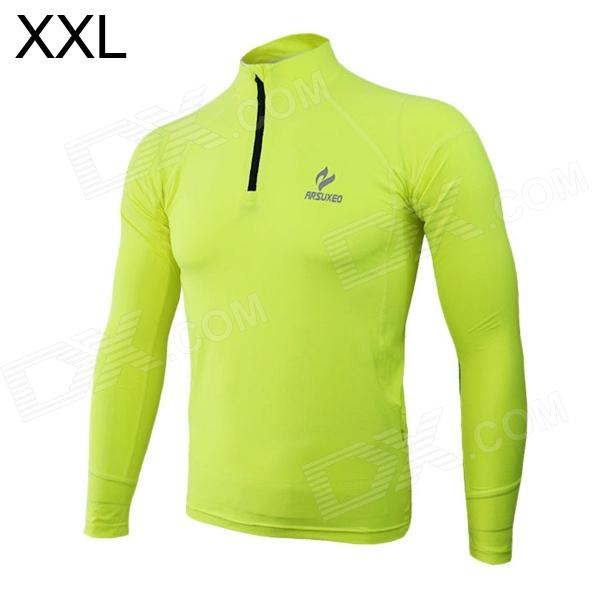 ARSUXEO N53 Outdoor Sports Elastic Fleece Tights Shirt - Black + Fluorescence Green (Size-XXL)