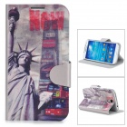 Stylish Statue of Liberty Pattern Flip-open PU Case w/ Card Slot / Holder for Samsung S4 i9500