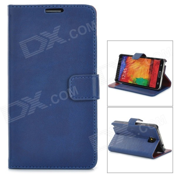 Stylish Flip-open PU Leather Case w/ Holder + Card Slots for Samsung N9000 / NOTE 3 - Blue аксессуар чехол lg k410 430ds k10 3g lte aksberry black