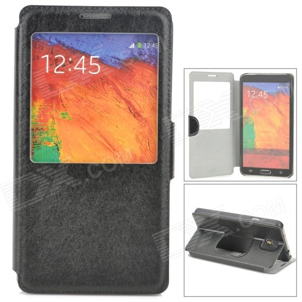 Flip-Open PU Leather Smart Case w/ Stand for Samsung Galaxy Note 3 - Black metal ring holder combo phone bag luxury shockproof case for samsung galaxy note 8