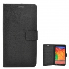 Stylish Flip-Open PU Leather Case w/ Card Slot / Stand for Samsung N9000 / Note 3 - Black
