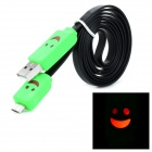 Smile Face Pattern Flashing Flat USB Male to Micro USB Male Data Charging Cable - Black + Green