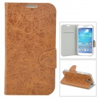Stylish Flip-Open PU Leather Case w/ Stand / Card Slot for Samsung Galaxy S4 / I9500 - Brown