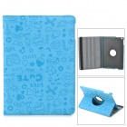 Cartoon Pattern Protective Rotary PU Leather + Plastic Case w/ Stand + Sleep for Ipad AIR - Blue