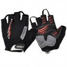 LYCCO C101 Cycling Bicycle Lycra Half Finger Glove - Black (L)