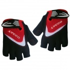LYCCO C100 Cycling Bicycle Microfiber Half Finger Glove - Black + Red (M)