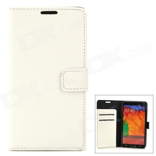 Protective PU Leather Flip-open Case w/ Stand for Samsung Galaxy Note 3 / N9000 - White protective flip open pu case w stand card slots strap for samsung galaxy note 3 n9000 white