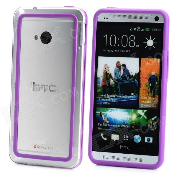 Protective Plastic Bumper Frame for HTC One - Purple + Transparent small holes style protective pe back case for htc one x s720e purple