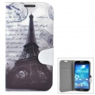 Protective Eiffel Tower Pattern PU Leather Case for Samsung Galaxy S4 - Black + Grey