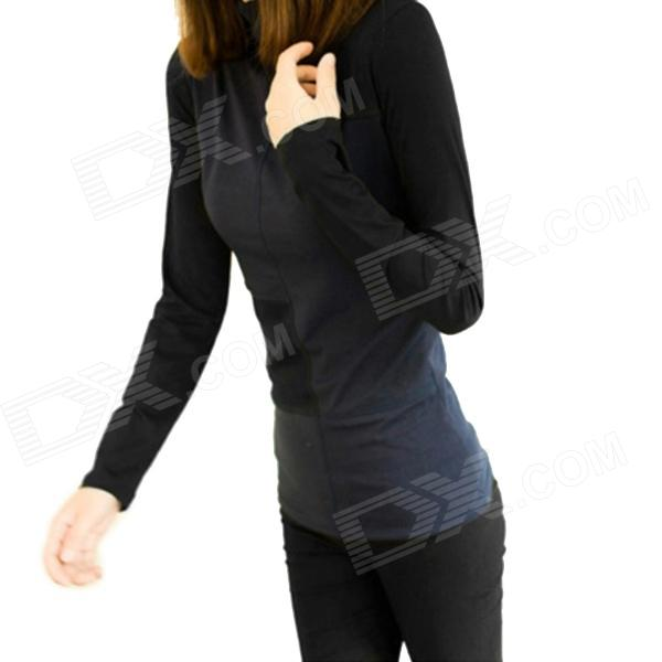 Fashion Long Sleeve Hit Color High Collar Base Shirt - Deep Blue + Black