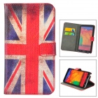 UK Flag Pattern Protective PU Case w/ Card Slot for Samsung Galaxy Note 3 N9000 - Red + White + Blue