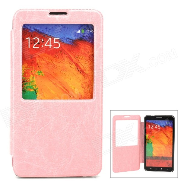 Stylish Flip-Open PU Leather Case for Samsung Galaxy Note 3 - Pink metal ring holder combo phone bag luxury shockproof case for samsung galaxy note 8