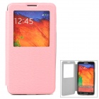 Protective Flip Open PU Leather Case w/ Display Window / Stand for Samsung Note 3 N9000 - Pink