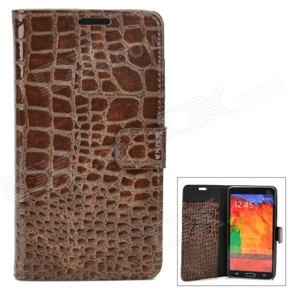 Crocodile Skin Pattern PU Leather Flip-Open Case for Samsung Galaxy Note 3 / N9000 - Brown crocodile skin pattern pu leather flip open case for samsung galaxy note 3 n9000 brown