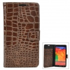 Crocodile Skin Pattern PU Leather Flip-Open Case for Samsung Galaxy Note 3 / N9000 - Brown
