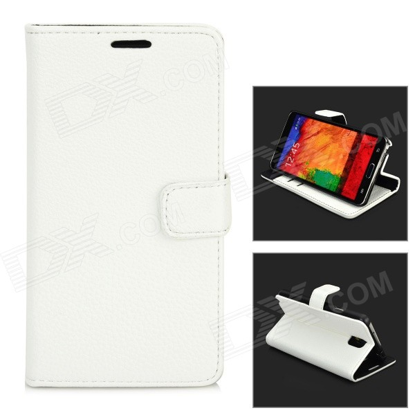 Stylish Flip-Open PU Leather Case w/ Stand / Card Slot for Samsung N9000 / Note 3 - White protective flip open pu case w stand card slots strap for samsung galaxy note 3 n9000 white
