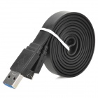 Micro-B USB 3.0 9-Pin Data Charging Flat Cable - Black (1m)
