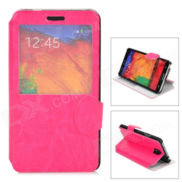 Stylish PU Leather Smart Case w/ Stand for Samsung Galaxy Note 3 - Deep Pink metal ring holder combo phone bag luxury shockproof case for samsung galaxy note 8