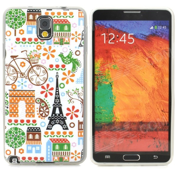 Graffiti Style Eiffel Tower Pattern Back Case for Samsung N9000 / N9002  + More - Multicolored
