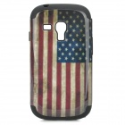 US National Flag Style Protective Plastic + Silicone Back Case for Samsung i8190 - Black