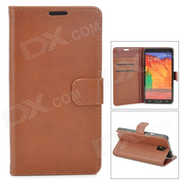 Protective Flip Open PU Leather Case w/ Stand / Card Slots for Samsung Note 3 N9000 - Brown protective pu leather flip open case w stand for samsung note 3 n9000 deep pink light green