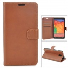 Protective Flip Open PU Leather Case w/ Stand / Card Slots for Samsung Note 3 N9000 - Brown