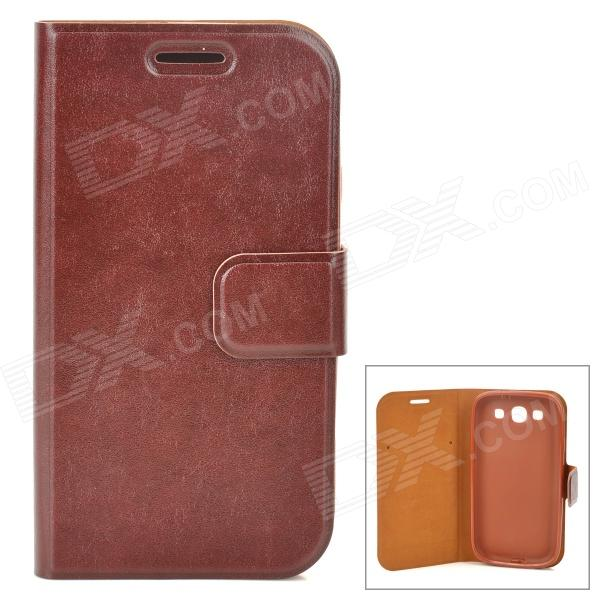 Protective PU Leather Case w/ Holder for Samsung Galaxy S3 i9300 - Brown
