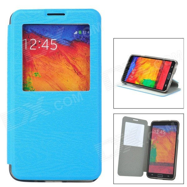 Protective Flip Open PU Leather Case w/ Stand / Card Slots for Samsung Note 3 N9000 - Blue protective pu leather flip open case w stand for samsung note 3 n9000 deep pink light green