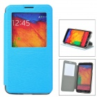 Protective Flip Open PU Leather Case w/ Stand / Card Slots for Samsung Note 3 N9000 - Blue