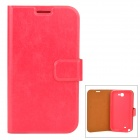 Protective Flip Open PU Leather Case w/ Card Slot for Samsung N7100 - Deep Pink