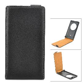 Protective Up-Down Flip-Open Leather Case for Nokia Lumia 1020 - Black