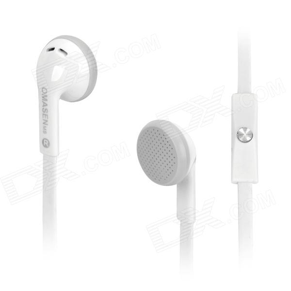 OMASEN OM-M8 Stereo In-ear Earphone w/ Microphone for Iphone / Samsung / HTC + More - White omasen om78 stylish stereo earphone w microphone for iphone ipod htc samsung white 3 5mm