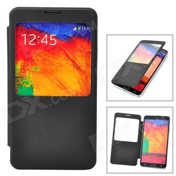 Protective Flip Open PU + PC Case w/ Display Window for Samsung Galaxy Note 3 - Black