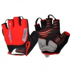 LYCCO C101 Cycling Bicycle Lycra Half Finger Glove - Black + Red (L)