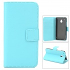 Stylish Flip-Open PU Leather Case w/ Stand / Card Slots for HTC One Mini M4 - Blue