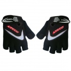 LYCCO C100 Cycling Bicycle Microfiber Half Finger Glove - Black (XL)