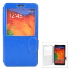 Protective Flip Open PU Leatner Case w/ Stand / Display Window for Samsung Note 3 - Blue