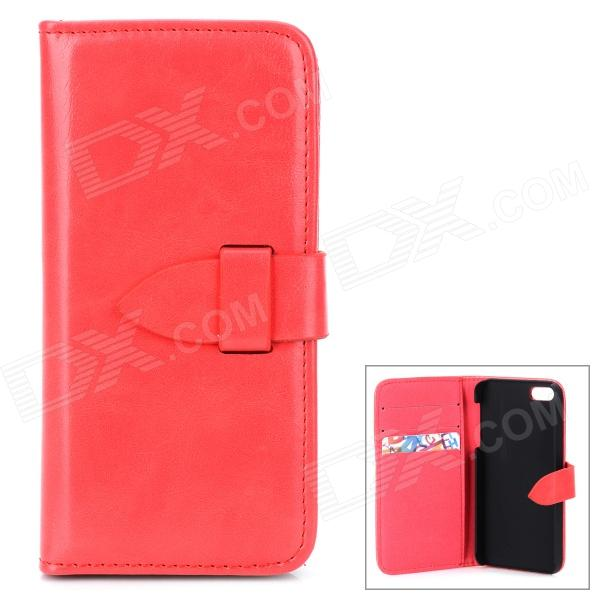 Protective Flip Open PU Leather Case w/ Card Slots for Iphone 5 / 5s - Red high quality business flip open pu pc case w card slots for 5 5 iphone 6 plus brown