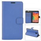 Lichee Pattern Protective PU Leather Case w/ Card Slot for Samsung Galaxy Note 3 N9000 - Blue