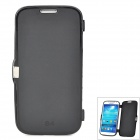 Simple Plain Flip-open Silicone Case for Samsung i9500 - Black