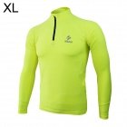 ARSUXEO N53 Outdoor Sports Elastic Fleece Tights Shirt - Black + Fluorescence Green (Size-XL)