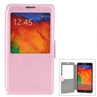 Protective Flip Open PU Leather Case w/ Display Window / Stand for Samsung Note 3 - Pink