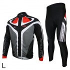 ARSUXEO C02 Cycling Long-sleeve Polyester + Lycra Jacket + Pants for Men - Black (L)