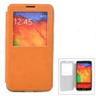 Protective Flip Open PU Case w/ Stand / Display Window for Samsung Note 3 N9000 - Brown