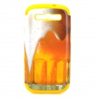 Beer Pattern Plastic + Silicone Back Case for Samsung i9300 - Yellow