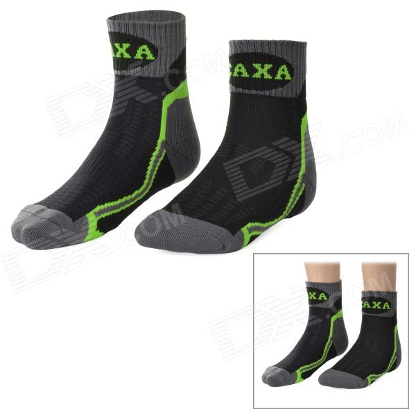 CAXA Outdoor Mountaineering Quick-drying Polyester + Spandex Socks for Men - Green + Black (Pair) arsuxeo ar608s quick drying cycling polyester jersey for men fluorescent green black l
