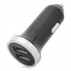 HSC YC-160 2400mA Dual USB 2.0 Car Power Charger - Black + Silver (DC 12~24V)