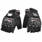 PRO-BIKER HJ-33 Motorcycling 450D Nylon Half-finger Gloves - Black (Pair / XL)
