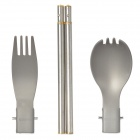 ALOCS TW-10 Aluminum Alloy + Stainless Steel Folding Spoon + Fork + Chopsticks - Silver + Grey