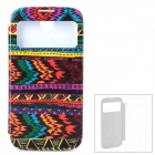 Tribal Totem Stil PU-Leder + PC Fall w / Auto-Sleep für Samsung Galaxy i9500 S4 - Multicolor
